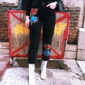 LF carmar amelia floral embroidered jeans